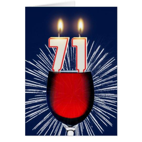 71ste Verjaardag met wijn en kaarsen Wenskaart