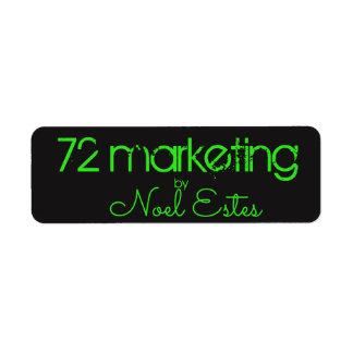 72marketing het neon groen zwart adres van de etiket