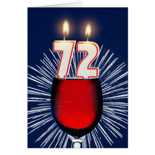 72ste Verjaardag met wijn en kaarsen Wenskaart