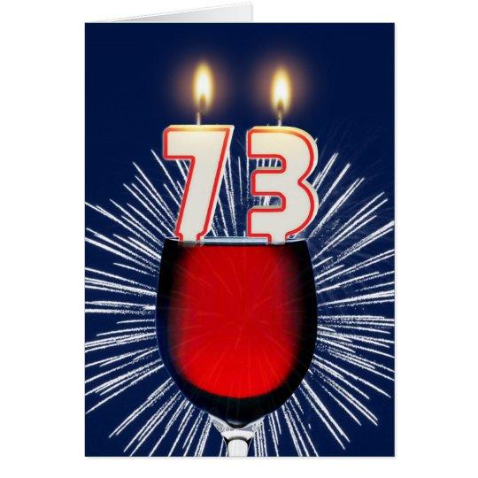 73ste Verjaardag met wijn en kaarsen Briefkaarten 0