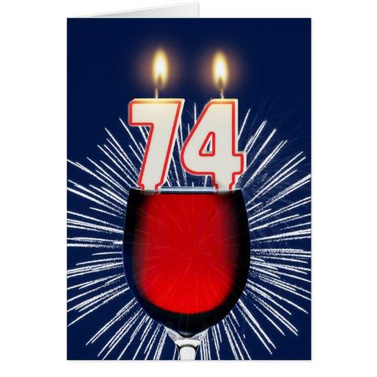 74ste Verjaardag met wijn en kaarsen Wenskaart