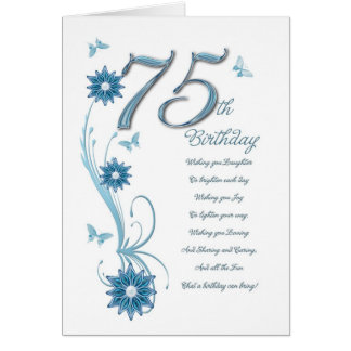 75ste verjaardag in wintertaling met bloemen en kaart