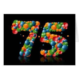 75ste verjaardag met aantallen van ballen worden kaart