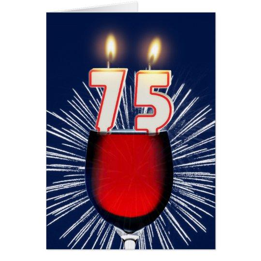 75ste Verjaardag met wijn en kaarsen Wenskaart