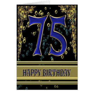 75ste verjaardagskaart met goud en bellen briefkaarten 0
