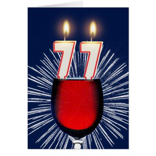77ste Verjaardag met wijn en kaarsen Briefkaarten 0
