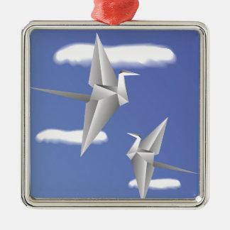 78Paper de vogels _rasterized Zilverkleurig Vierkant Ornament