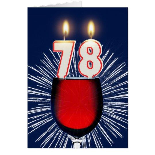 78ste Verjaardag met wijn en kaarsen Wenskaart