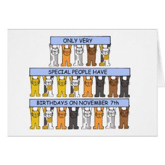 7 de Verjaardagen van november door Katten worden Wenskaart
