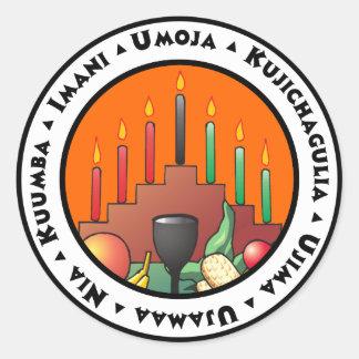 7 principes van Kwanzaa Ronde Sticker
