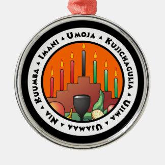 7 principes van Kwanzaa Zilverkleurig Rond Ornament