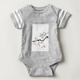 7 sakurabloesems met roze vogel, tony fernandes baby bodysuit