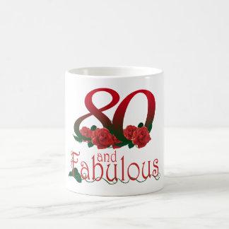 80ste verjaardag 80 en fabelachtige rode rozen koffiemok