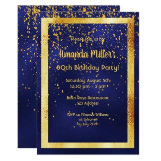 80ste verjaardagspartij op middernacht blauw kaart