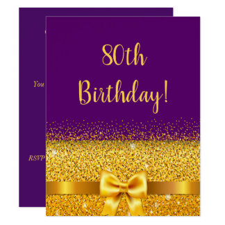 80ste verjaardagspartij op paarse gouden kaart