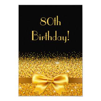 80ste verjaardagspartij op zwarte met gouden kaart