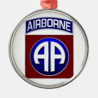 82ste Afdeling In de lucht Al Amerikaans Flard van Zilverkleurig Rond Ornament