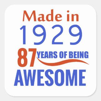 87 verjaardagsontwerp vierkante sticker