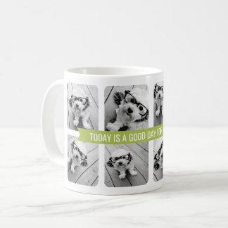 8 de Collage van de foto met het Groene Lint van Koffiemok
