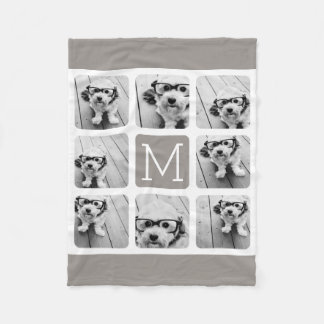 8 de Collage van de foto met Monogram - Neutrale Fleece Deken