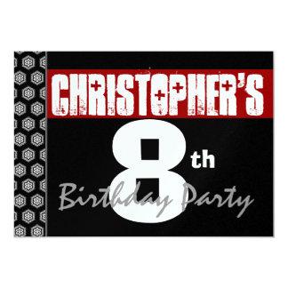 8ste Verjaardag Modern voor hem Rode Witte Zwarte 12,7x17,8 Uitnodiging Kaart
