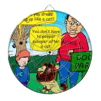 901 waarom hond gekleed als een kattencartoon is dartbord