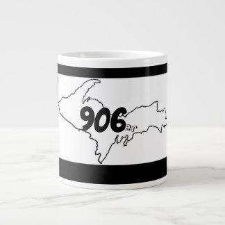 906er de JumboMok van Michigan U.P. - Zwarte/Wit Grote Koffiekop