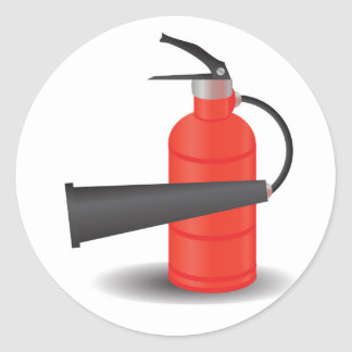 90Fire Extinguisher_rasterized Ronde Sticker