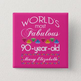 90ste Verjaardag het Meeste Fabelachtig Kleurrijk Vierkante Button 5,1 Cm