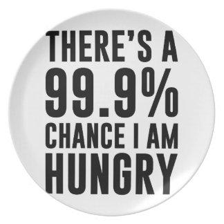 99.9 kans ben ik Hongerig Diner Borden