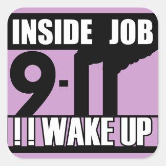 9-11 BINNEN het KIELZOG van de BAAN OMHOOG - Vierkante Sticker