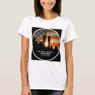 9-11 herinner me - wij zullen nooit vergeten t shirt