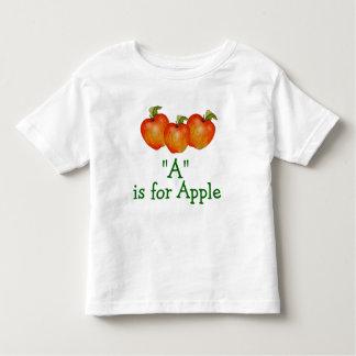 A is voor Apple leert om de T-shirt van de Peuter