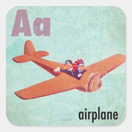 A is voor Vliegtuig Vierkant Sticker