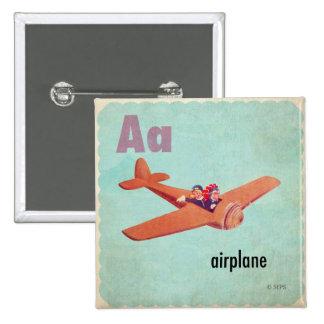 A is voor Vliegtuig Vierkante Button 5,1 Cm
