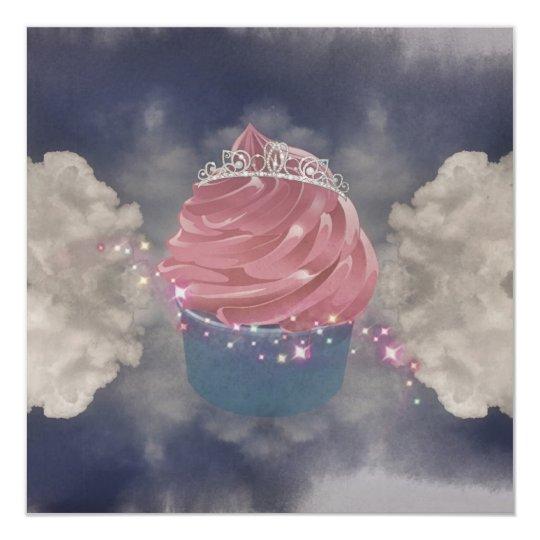 A Pink Cupcake Princes Invite Sparkle Tiara Kaart