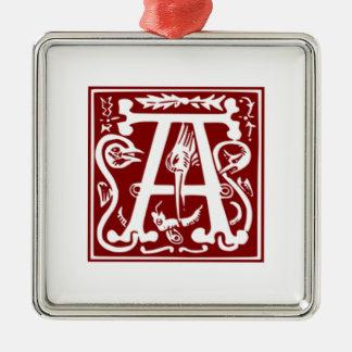 A - SierAlfabet Zilverkleurig Vierkant Ornament
