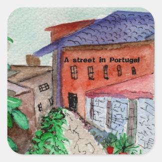 A watercolored sticker van een straat in Portugal