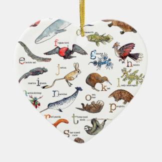 A-Z van verbazende dieren Keramisch Hart Ornament