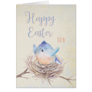 Aan Blauwe Vogel van Pasen van de Zoon de Kaart