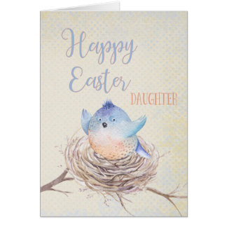 Aan Dochter, de Gelukkige Blauwe Vogel van Pasen Kaart