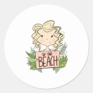 Aan het Strand Ronde Sticker