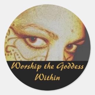 Aanbid binnen de Godin Ronde Sticker