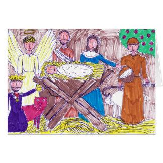 Aanbiddende Jesus in de Stabiele Kerstkaart Kaart