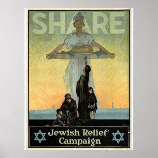 Aandeel - de Joodse Campagne van de Hulp Poster