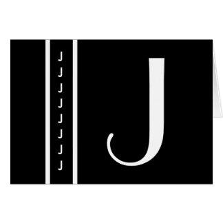 """Aangepast Zwart-wit Monogram - Aanvankelijk """"J """" Kaart"""