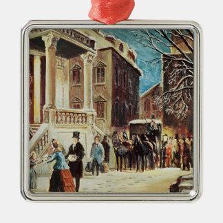 Aankomst bij de Partij van Kerstmis Zilverkleurig Vierkant Ornament
