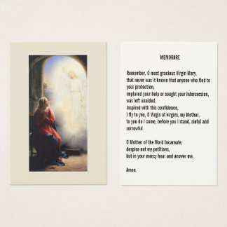 Aankondiging van Mary Memorare Prayer Holy Cards Visitekaartjes