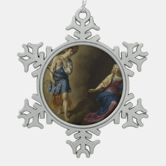 Aankondiging van Mary, Velde Tin Sneeuwvlok Ornament