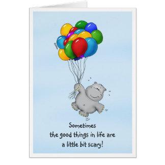Aanmoedigend Bericht - Hippo met Ballons Briefkaarten 0